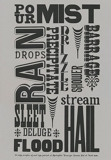 This Soggy Sampler ($15) is a letterpress poster featuring diverse words for rainy weather.