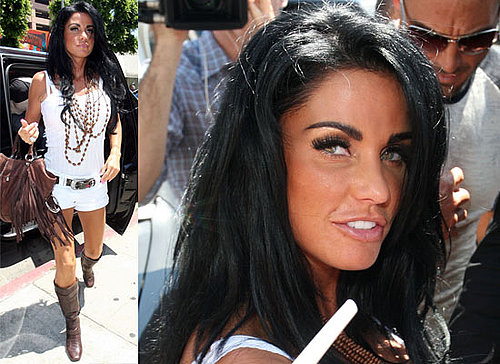 Photos Of Very Tanned Katie Price aka Jordan In Los Angeles Shopping In A Small White Outfit