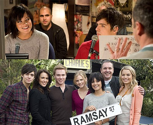 Photos Of Lily Allen On The Set Of Neighbours In A Scene With Karl Kennedy and Zeke Kinski