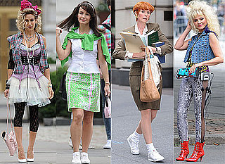 Photos Of Sarah Jessica Parker as Carrie, Cynthia Nixon, Kim Cattrall and Kristin Davis In 80s Gear On Sex And The City 2 Set