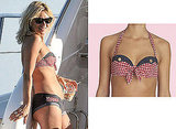 Kate Moss Gingham and Denim Bikini Agent Provocateur on Holiday in France