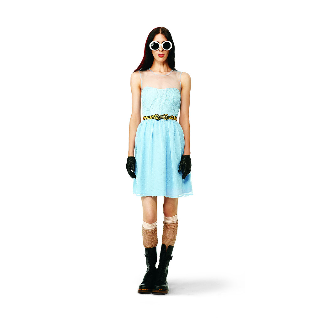 Swiss Dot Lace Dress in blue, $39.99 Bow Belt in yellow leopard, $12.99 Cut-Out Knee-Highs in tan/peach, $9.99