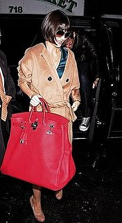 Katie Holmes' Oversized Red Haut a Courrois Hermes: Love It or Hate It?