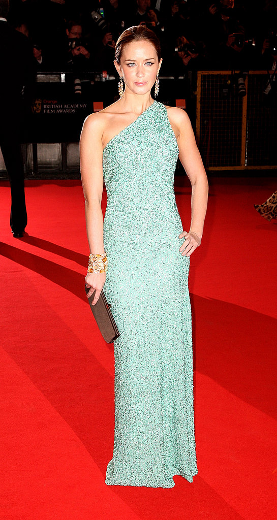 Emily Blunt in Sea Foam Marc Bouwer