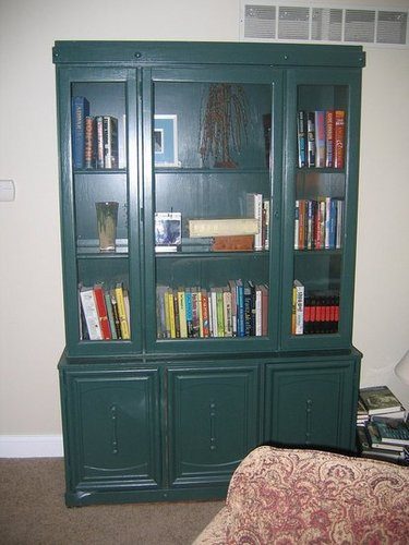 An old bookcase/china cabinet needs a new look