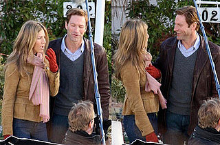 Jennifer Aniston and Aaron Eckhart on the set of Traveling in Vancouver on January 21, 2008