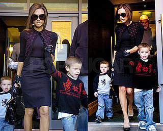 Victoria Beckham in Manchester With Romeo Beckham and Cruz Beckham