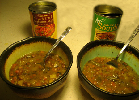Lentil Vegetable Soup: Trader Joe's vs. Amy's Kitchen