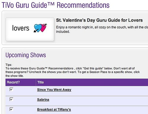 Geek Tip: TiVo Guru Guide For Valentine's Day
