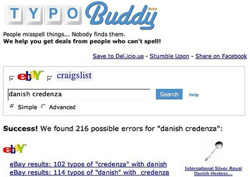 TypoBuddy Finds Misspelled Items on Craigslist and eBay