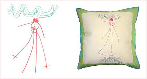 Child's Artwork on a Pillow
