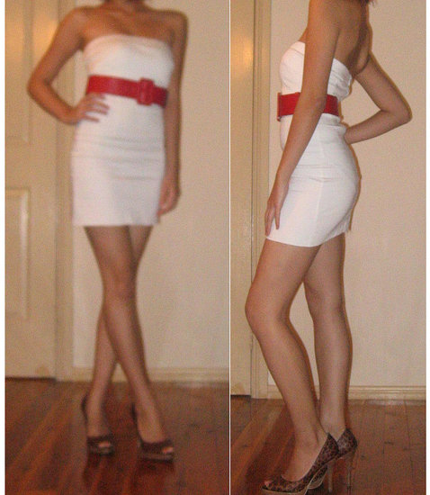 White Minidress + Red Belt + Leopard Print Pumps