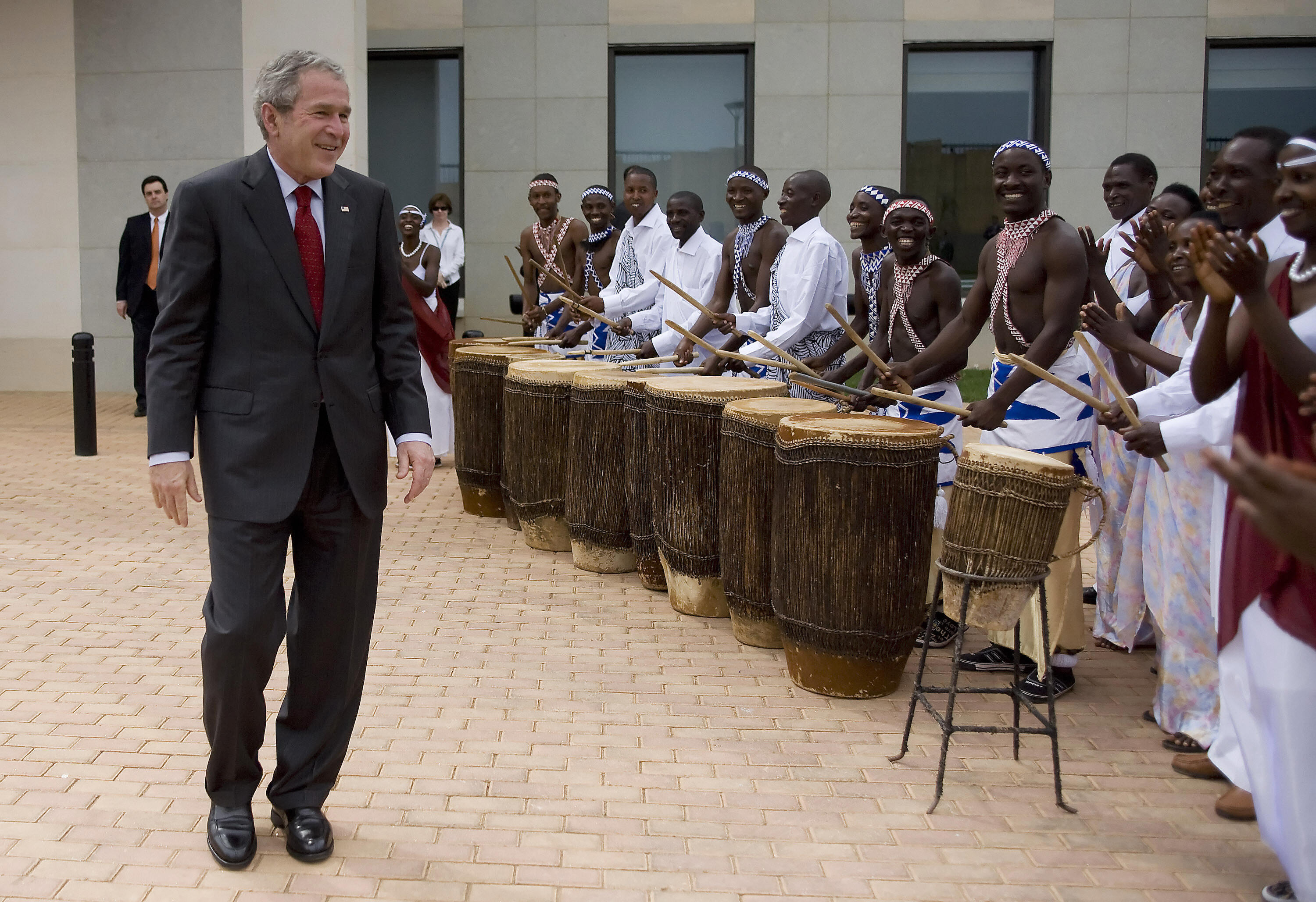 Bush dances at the ceremony after inaugurating the new US Embassy in Rwanda.