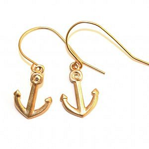 Gold Anchor Ear Wires by Jennifer Kaufman