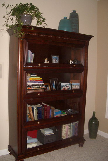 Bookshelf that we purchased with our wedding money.