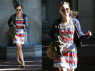 Natalie Portman Goes to Chateau Marmont in Striped Dress and Yellow Flats