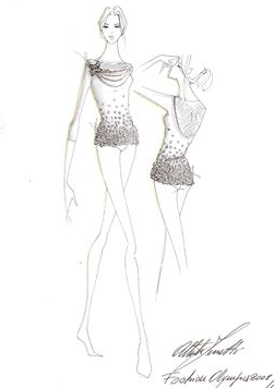 A sketch of Alberta Ferretti's take on a gymnastics