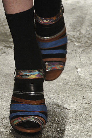 Dries van Noten Striped and Marbelized Shoes