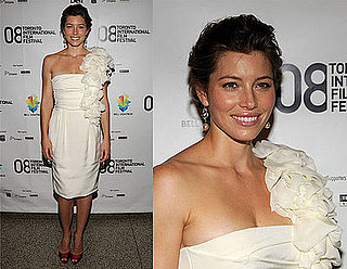 Jessica Biel Attends Premiere of Easy Virtue at the 2008 Toronto International Film Festival in a Giambattista Valli Frock