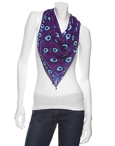 Otrera Chiffon Evil Eye Scarf: Purple
