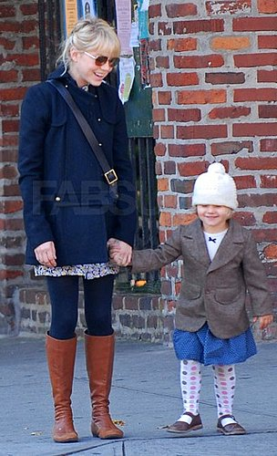 Michelle Williams in a Jeffrey Monteiro Pea Coat With Daughter Matilda in NYC