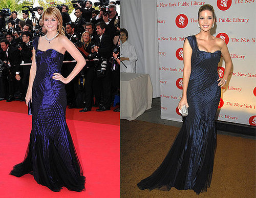 Mischa Barton and Ivanka Trump Both Wear Alberta Ferretti's Blue One-Shoulder Gown