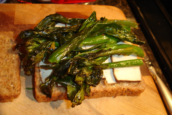 Tofu and Chinese Broccoli Sandwich