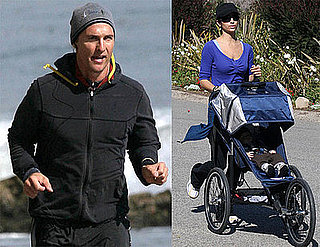 Photos of Matthew McConaughey, Camila Alves, Levi and Their Dog Jogging in Malibu