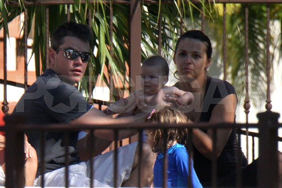 Matt Damon and Family Poolside