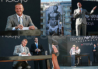 David Beckham Unveils His New Armani Ad at Macy's in San Francisco!