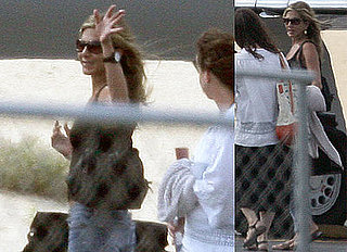 Photos of Jennifer Aniston Boarding Her Jet Back to LA