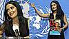 Photos of Salma Hayek at a UN and UNICEF Press Conference in Geneva