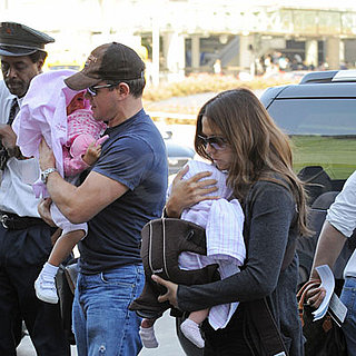 Matt and Luciana Damon With Their Kids at SFO