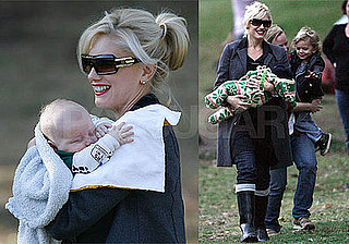 Photos of Gwen Stefani, Kingston Rossdale, Zuma Rossdale at the Park; Gavin Rossdale Playing Tennis