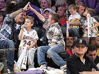 Photos of David Beckham, Cruz Beckham, Romeo Beckham, Brooklyn Beckham, Leonardo DiCaprio at Lakers-Pistons Game