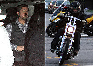 Photos of Brad Pitt on Motorcycle and in Car in LA