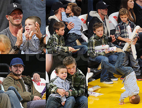 Photos of Cruz Beckham Breakdancing at Lakers Game with Romeo, Brooklyn, David