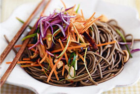 Asian Noodles with Shiitakes and Cashews
