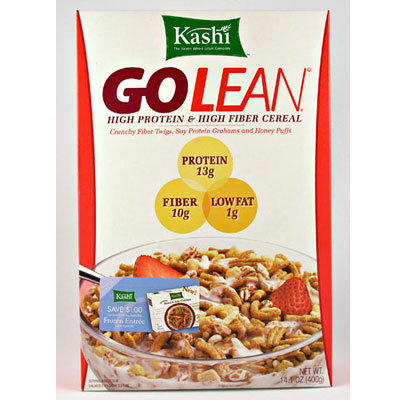 Kashi Go Lean Cereal With a Sliced Banana, Walnuts, and Skim Milk