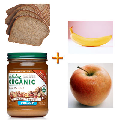 Banana, Apple, and Peanut Butter Sandwich