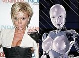 "Victoria ""Posh"" Beckham and the Svedka Robot Lady"