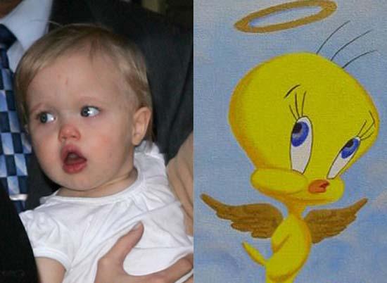 Shiloh Jolie-Pitt and Tweety Bird