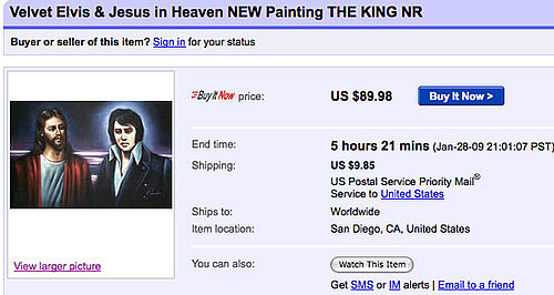 eBay Find of the Day: Elvis and Jesus in Heaven Velvet Painting