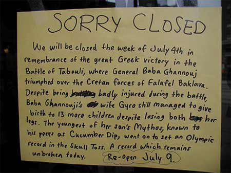 "Best ""Sorry We're Closed"" Sign Ever"