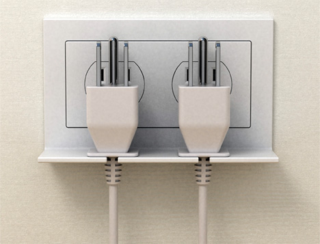 The Hang On Outlet Holds Your Loose Cords Securely