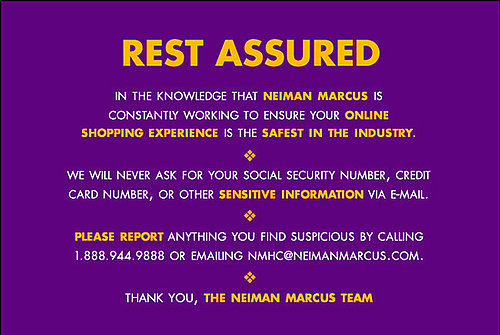 Neiman Marcus Emails Its Customers with Security Assurance about Online Shopping with Them