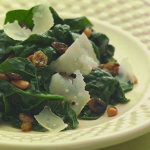 Textured Side: Sautéed Spinach with Pine Nuts & Golden Raisins