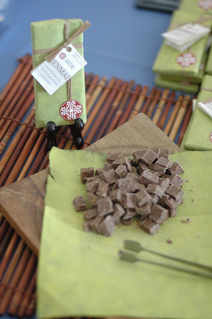 One of my new favorite chocolate companies, Jade Chocolates was on hand with its Genmai — milk chocolate, brown rice, roasted tea — and Dragon's Breath — sesame seeds, red chili, tea — chocolates.