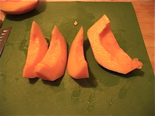 Slice each half of the cantaloupe into large wedges. You can serve them as is for more generous portions.