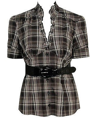 Belted Plaid Blouse $13.50